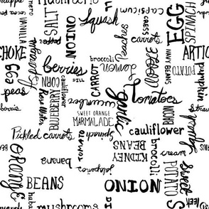 Typographic Grid of Whole Ingredients