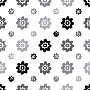 flower pattern white grey and black