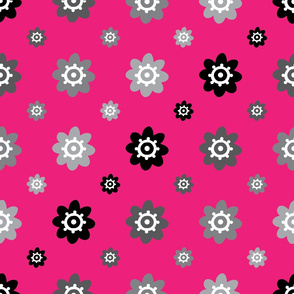 flower pattern pink grey and black
