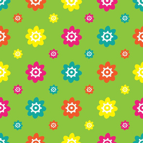 flower pattern multi green