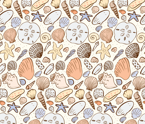 Shoreline Seashells fabric by charladraws on Spoonflower - custom fabric