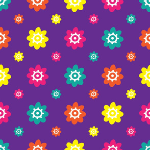 Flower Pattern Multi on Purple