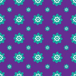 flower pattern purple teal