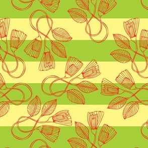 Outlined Petals on Yellow and Green