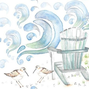 Beachin': waves, chair, and sandpiper watercolor 2