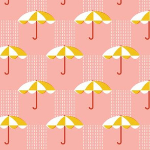 It's Raining Again* (Maxi Mona) || umbrella umbrellas spring rain spring preppy Seattle pastel coral