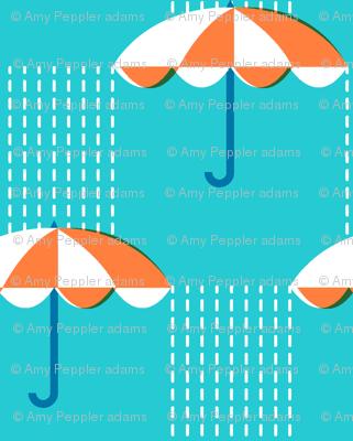 It's Raining Again* (Maxi Television Blue) || umbrella umbrellas spring rain spring preppy Seattle turquoise aqua