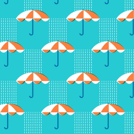 It's Raining Again* (Maxi Television Blue) || umbrella umbrellas spring rain spring preppy Seattle turquoise aqua fabric by pennycandy on Spoonflower - custom fabric