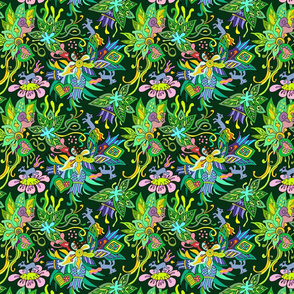 tiny horses in emerald forest green floral