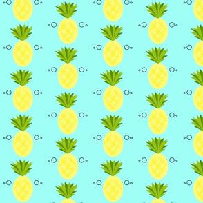 geometric pineapples on blue