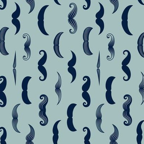 mustaches - navy on dusty blue (90)