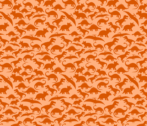 Dinos Orange Mono big fabric by threadconnections on Spoonflower - custom fabric