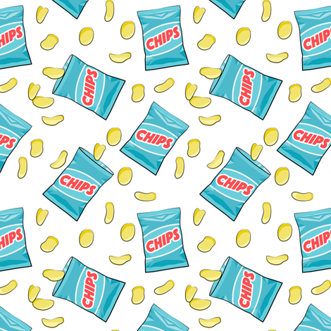 """1 1/2"""" scale-  bag of chips - blue C18BS fabric by littlearrowdesign on Spoonflower - custom fabric"""