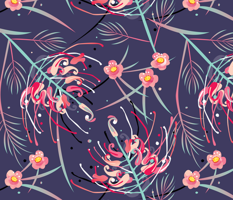 Grevillea At Night by Mount Vic and Me fabric by mountvicandme on Spoonflower - custom fabric