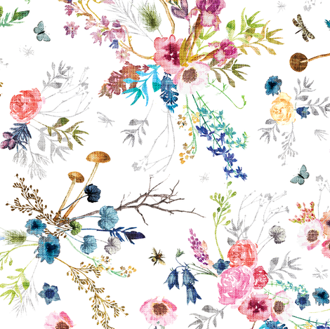 Wild Meadow (white) MED fabric by nouveau_bohemian on Spoonflower - custom fabric