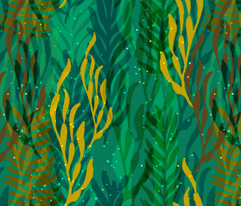 Underwater Forest {Turquoise} fabric by ceciliamok on Spoonflower - custom fabric