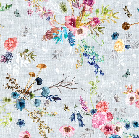 Wild Meadow (duck egg blue) MED fabric by nouveau_bohemian on Spoonflower - custom fabric