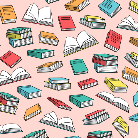books on pink (slightly larger) C18BS fabric by littlearrowdesign on Spoonflower - custom fabric