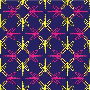 Dragonfly Mandala, Navy Yellow pink