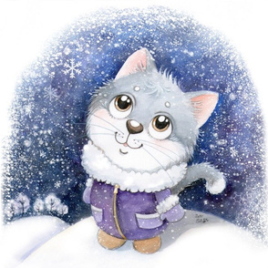 Kitten and snow