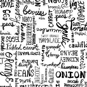 Food names Brushstroke Lettering