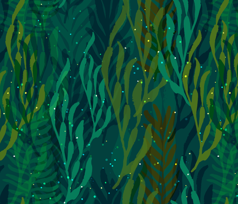 Underwater Emerald Forest fabric by ceciliamok on Spoonflower - custom fabric