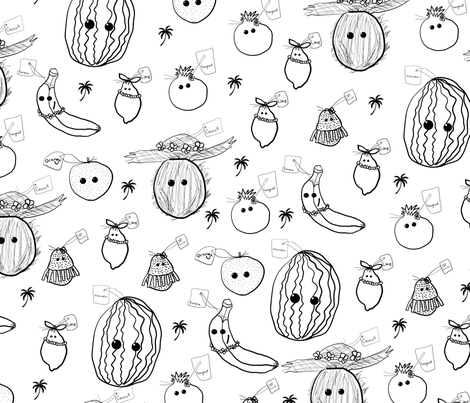 Hawaiian Home Grown Food Frenzy fabric by kedoki on Spoonflower - custom fabric