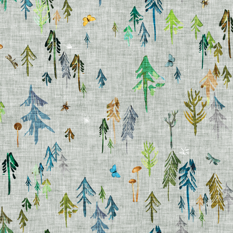 Pine Forest (sage) MED fabric by nouveau_bohemian on Spoonflower - custom fabric