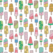 Popsicle Colourful Summer Ice Cream with Fruit and Sprinkles on White Smaller 1,75 inch