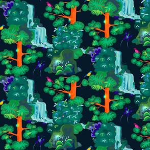 emerald forest flat on dark