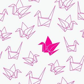 paper cranes in fluro pink