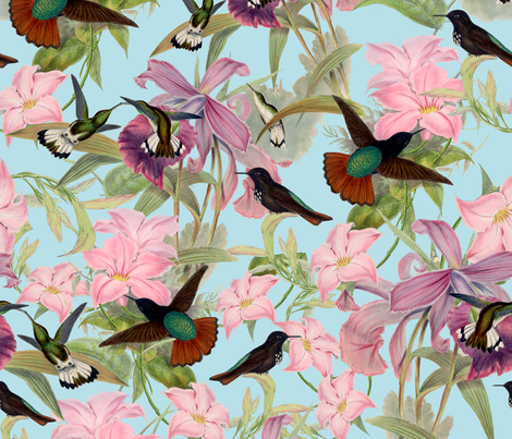 "21"" Hummingbirds on Tropical Flowers fabric by utart on Spoonflower - custom fabric"