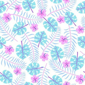 Palm leaves and hibiscus