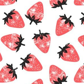 strawberries - red & grey