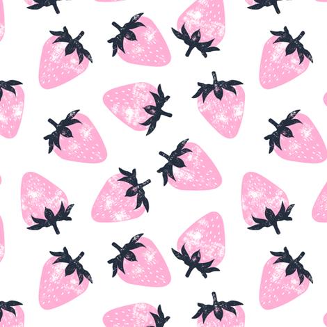 strawberries - pink fabric by littlearrowdesign on Spoonflower - custom fabric