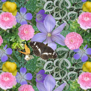 Emerald Forest with Flowers and Butterflies