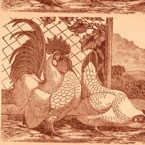 Victorian Etching: Farm Scene Pillow Panel sepia
