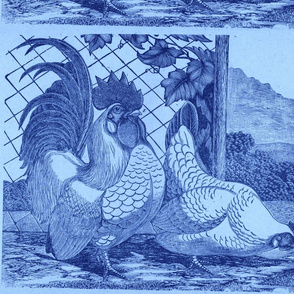 Victorian Farm etching pillow panel, chickens