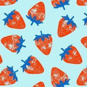 strawberries - red & blue on blue