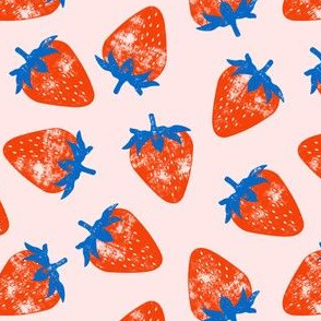 strawberries - red & blue on pink