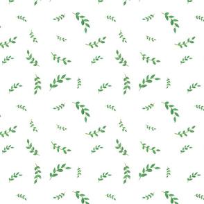 summer green leaves (white)