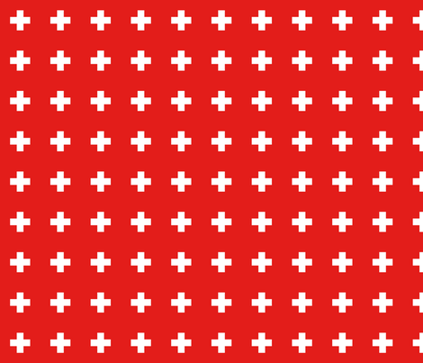 bright red cross+ E31D1A fabric by misstiina on Spoonflower - custom fabric