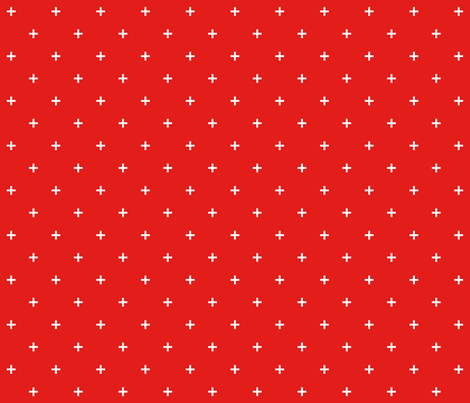 bright red cross small E31D1A fabric by misstiina on Spoonflower - custom fabric
