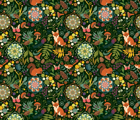 Treasures of the emerald woods fabric by camcreative on Spoonflower - custom fabric