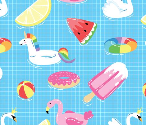 Summer pool fabric by radiocat on Spoonflower - custom fabric
