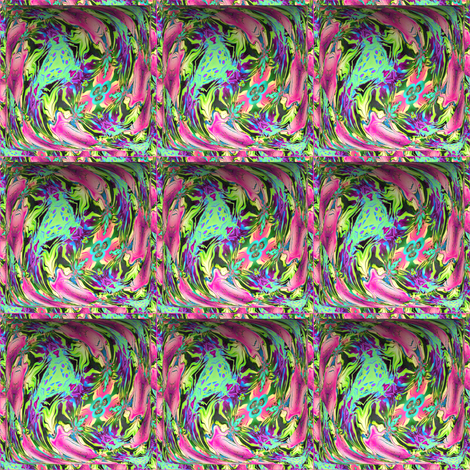 SMALL CONTOUR 5 EMBOSSED 3D SQUARE ABSTRACT FLOWERS green pink fabric by paysmage on Spoonflower - custom fabric
