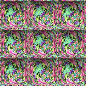 SMALL CONTOUR 5 EMBOSSED 3D SQUARE ABSTRACT FLOWERS green pink
