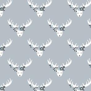 Sweet bohemian flower deer blossom antlers moose print soft blue