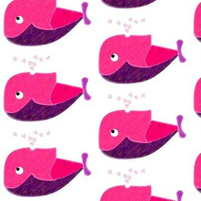 PINK WHALE AND HEARTS