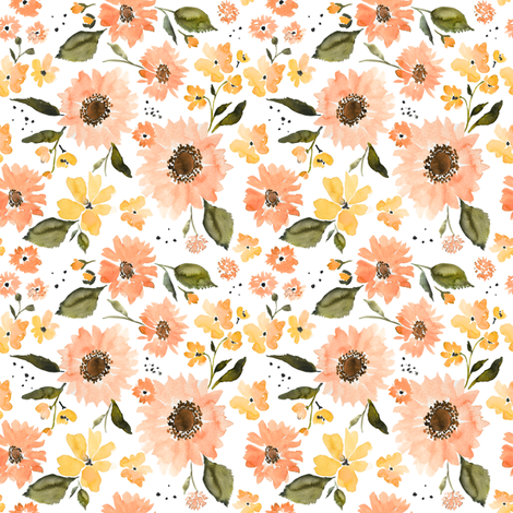 IBD PEACHY SUNFLOWERS 4x4 fabric by indybloomdesign on Spoonflower - custom fabric